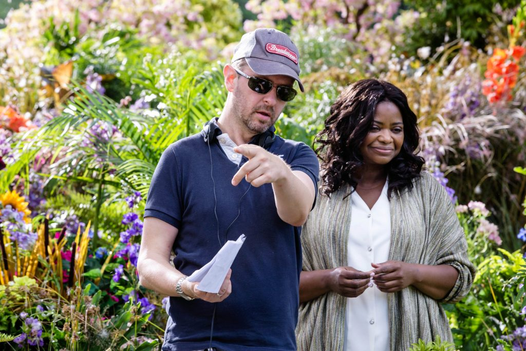 Director Stuart Hazeldine with Octavia Spencer (Papa), whilst shooting The Shack. Photo Supplied.