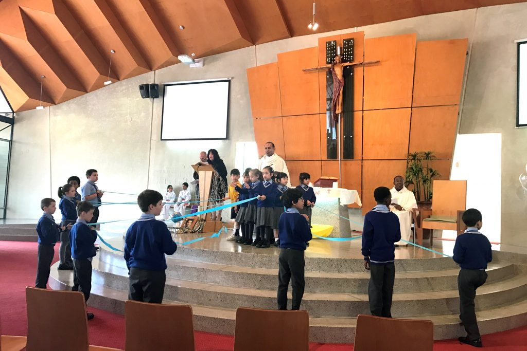 Children participating in the liturgy during a Mass at Mercy College, Koondoola on Friday 19 May. Photo: Supplied.