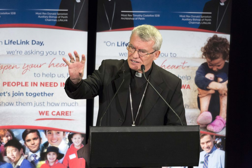 Perth Archbishop Timothy Costelloe referred to the words of Saint Mary Mackillop in his speech for the 2017 LifeLink Day Launch for Primary Schools, who said, 'never see a need without doing something about it'. Photo: Ron Tan.