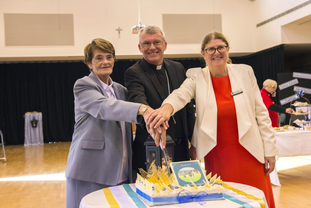 Congregation Leader of the Presentation Sisters in Western Australia Sr Kathleen Laffan with Archbishop Costelloe and Iona Presentation Primary School Principal Jennifer Anderson participating in the celebrations. Photo Natashya Fernandez.