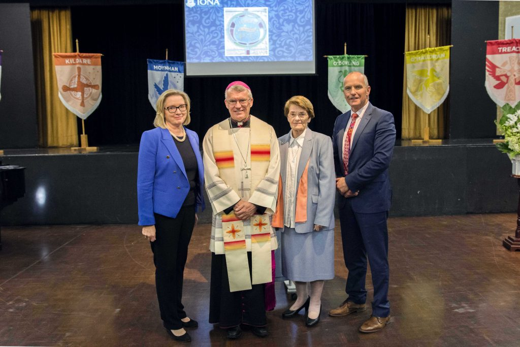 (Left to Right) Principal Anne Pitos with Archbishop Timothy Costelloe, Congregation Leader of the Presentation Sisters in Western Australia, Sr Kathleen Laffan and Executive Director for Catholic Education Western Australia (CEWA), Dr Tim McDonald at the Commemorative Ceremony for the Presentation Sisters on Friday 23 June. Photo: Natashya Fernandez.