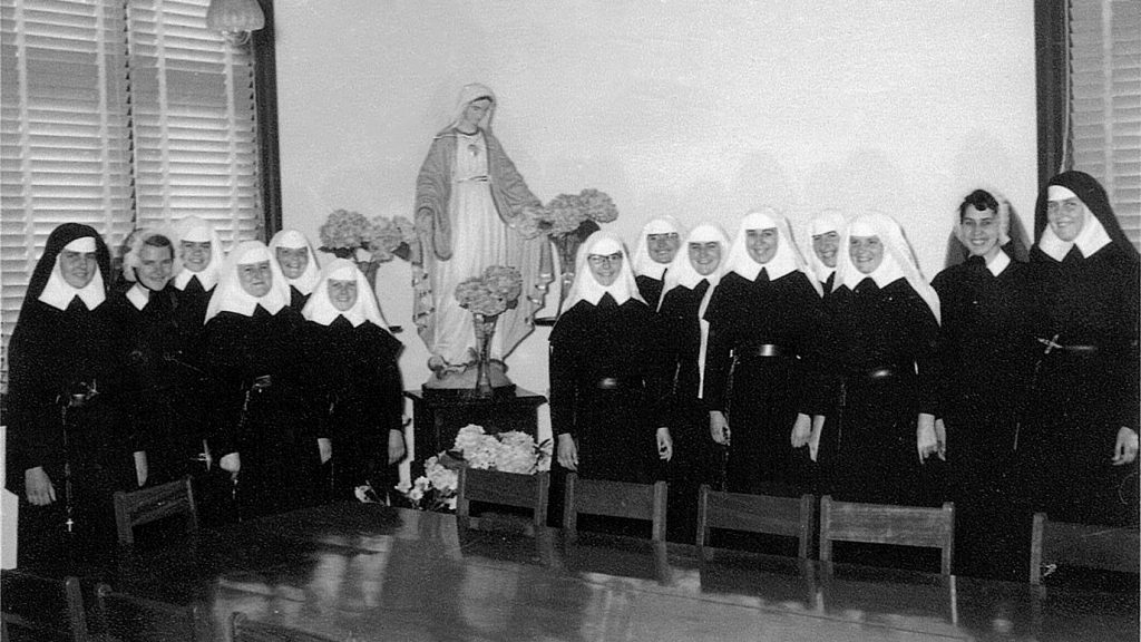 Sr Paula McAdam (far right) with the novitiate group at St Mary's Convent in Leederville in February 1957. Photo: Supplied.