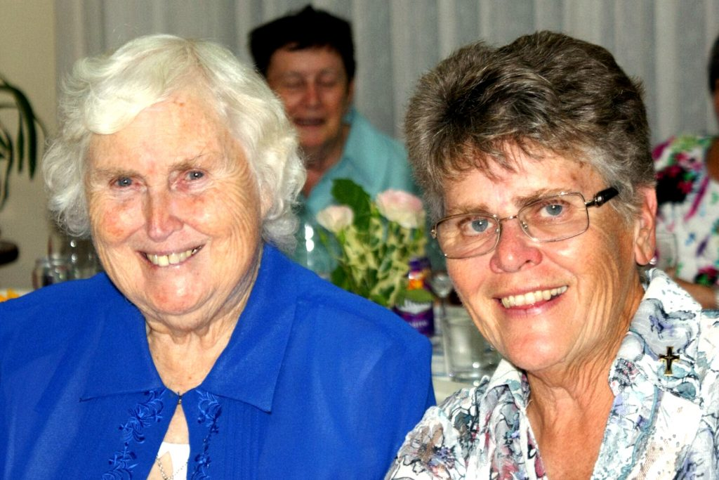 Sr Paula McAdam welcoming Sr Marie Duffy RSM as the new Community Leader in 2016. Photo: Supplied.