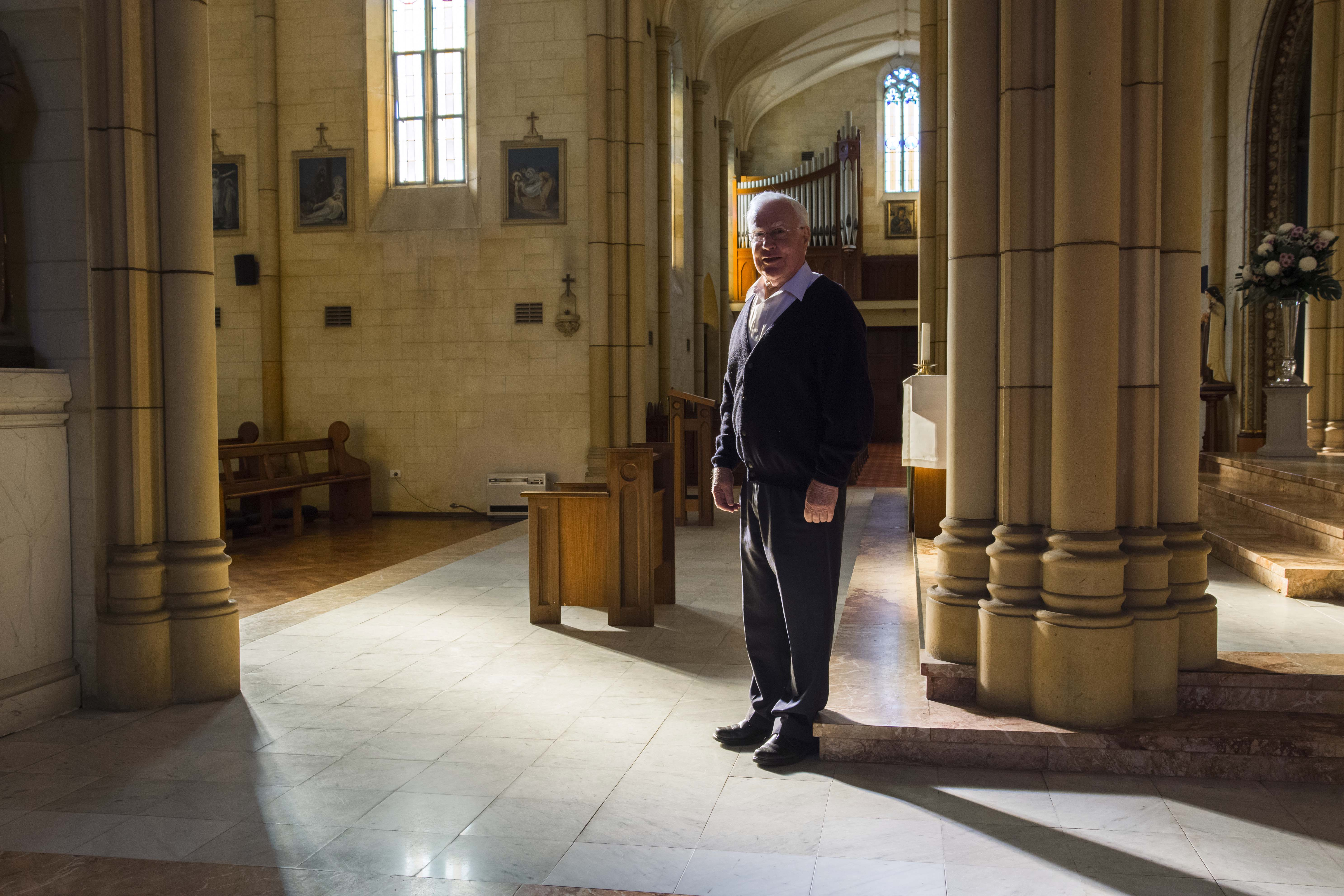 Fr Vincent Conroy at St Michael the Archangel Chapel, where he celebrated his 50th anniversary of ordination. Photo: Caroline Smith.