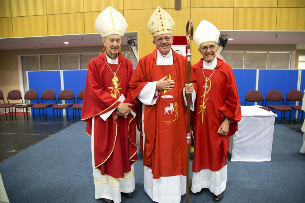 Newly ordained Bishop of Geraldton the Most Rev Michael Morrissey (centre) with Emeritus Archbishop of Perth, Barry Hickey, and Emeritus Bishop Justin Bianchin. Photo: Jamie O'Brien.