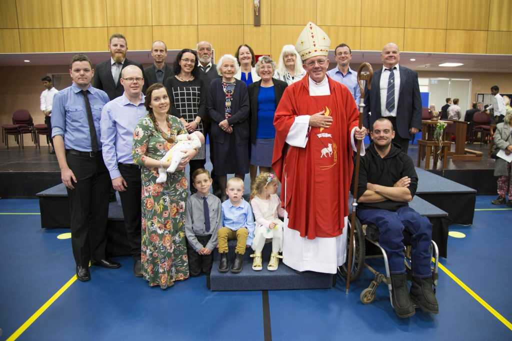 New Geraldton Bishop the Most Rev Michael Morrissey with family members after his ordination as Bishop last Wednesday 28 June. Photo: Jamie O'Brien.