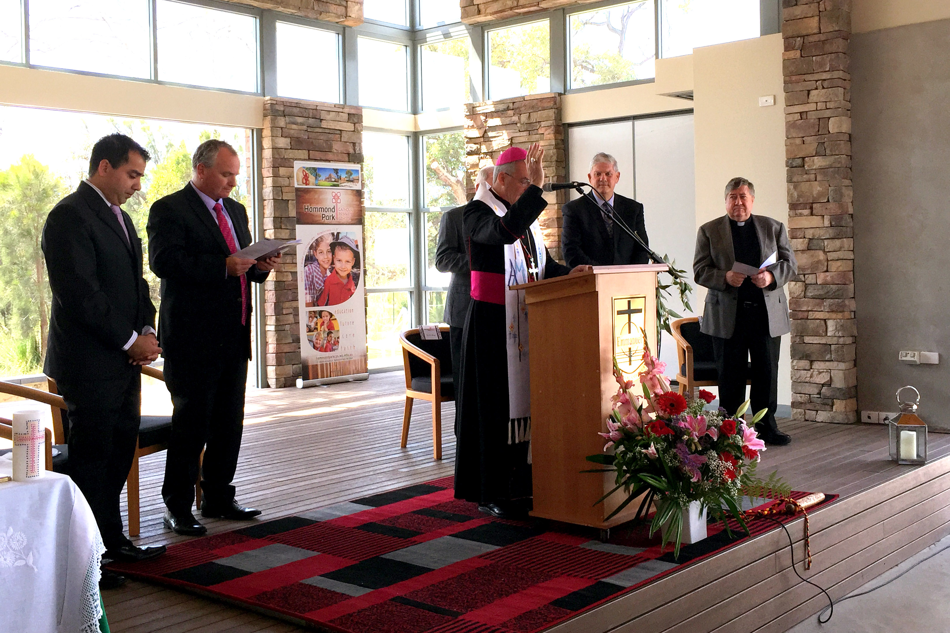 Perth Archbishop Timothy Costelloe SDB at the opening of Hammond Park Catholic Primary in November 2014. NCEC executive director Christian Zahra has this week said since lay Catholics were running schools in their houses in the early 1800s, Catholic education has been something that has been open to all families who seek it. Photo: Jamie O'Brien.