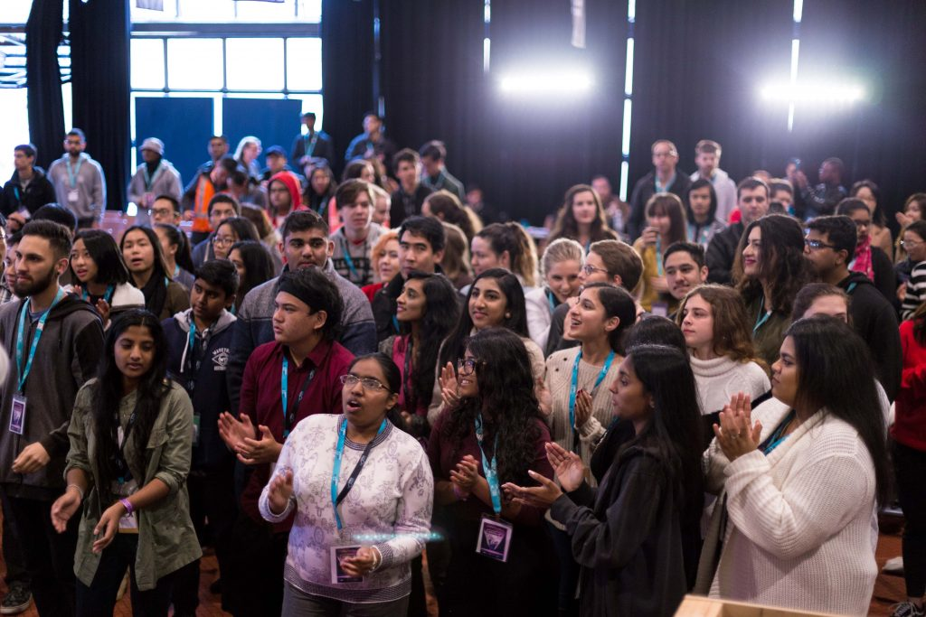 Veritas 2017 saw some 350 youth braving the weather over the weekend to partake in a faith-filled three days from 30 June to 2 July at Notre Dame University Fremantle. Photo: Supplied.