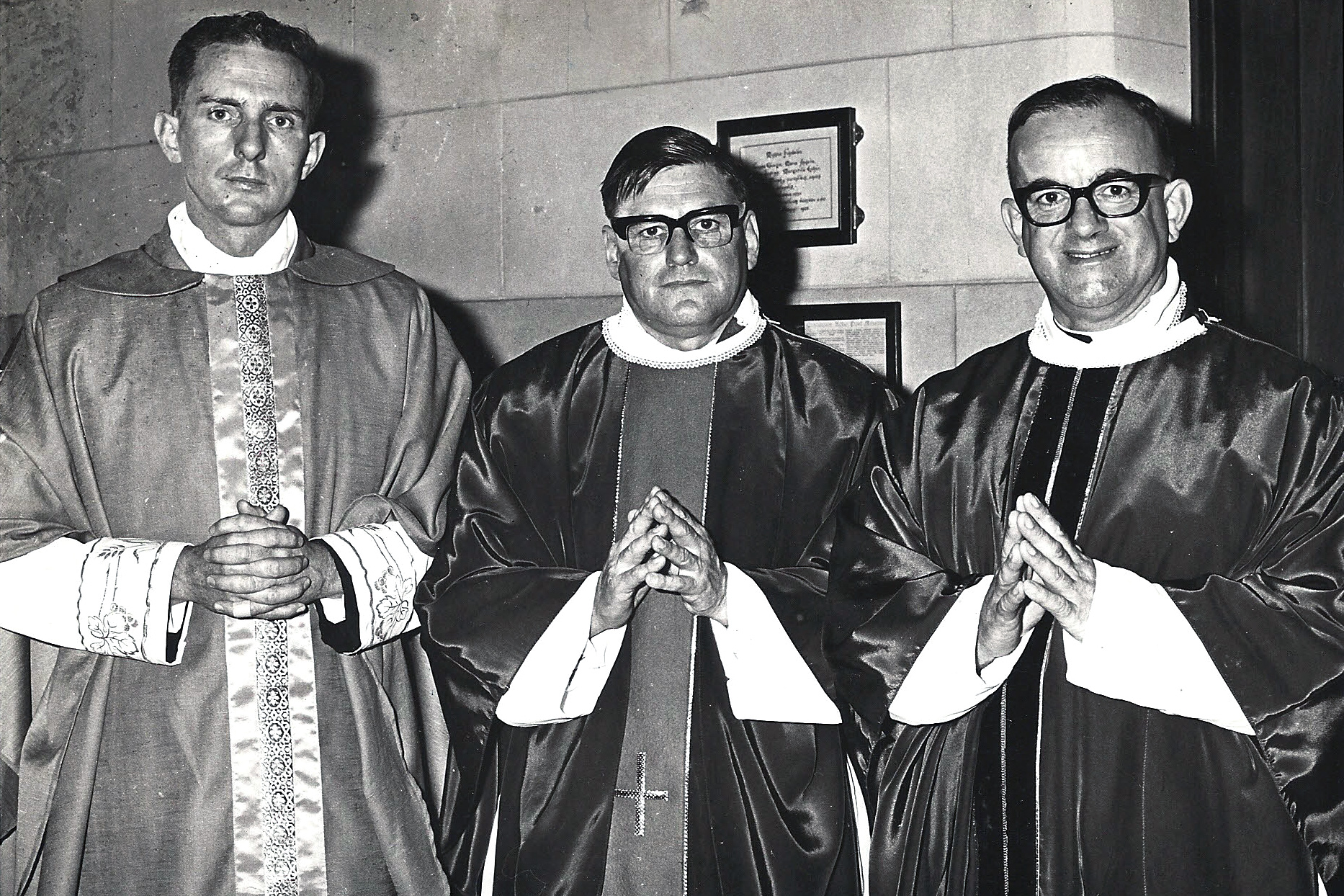 Left to Right – Fathers Geoffrey Beyer, John Lisle and Rodney Williams ordained to the priesthood at St Mary's Cathedral by Archbishop Launcelot John Goody on 19 October 1969. Photo: Supplied from the Archives of The Record from 1969.