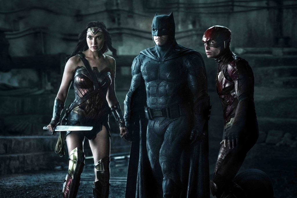 """Gal Gadot, Ben Affleck and Ezra Miller star in a scene from the movie """"Justice League."""" Photo: CNS photo/Warner Bros."""