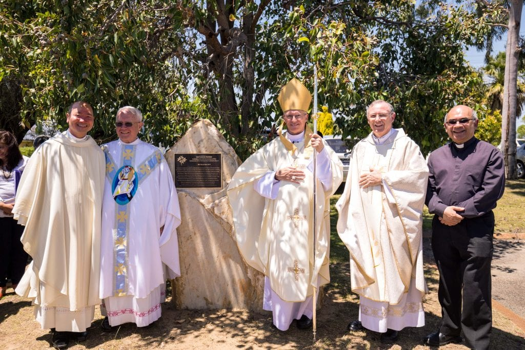 Archbishop Costelloe (middle) with (from left to right) current Parish Priest Fr Phong Nugyen and previous Parish Priests Monsignor Michael Keating, Fr Peter Whitely VG and Fr Philip Perreau. Photo: Fioline Oetomo.