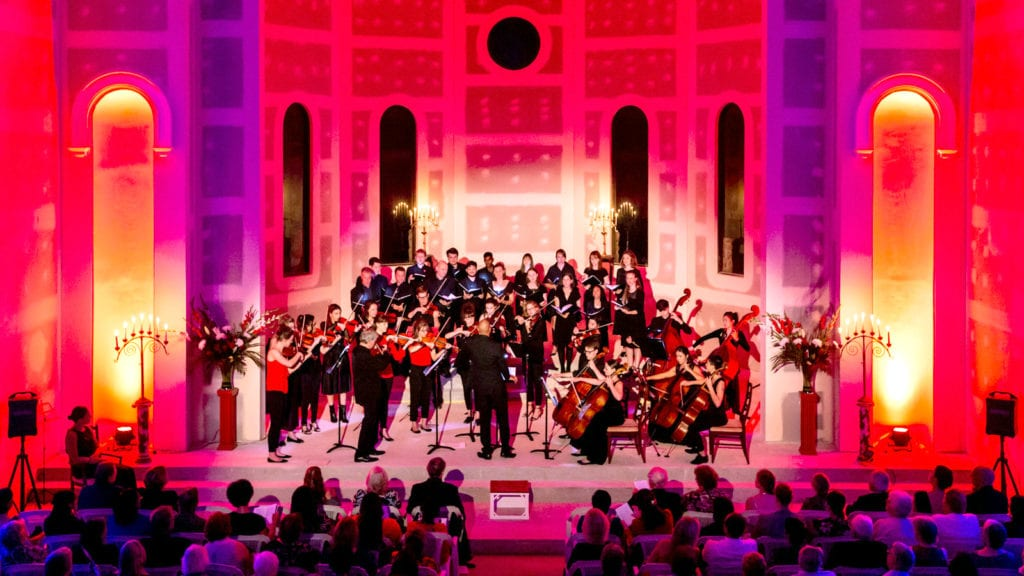 A panaromic view of the St Georges Orchestra at the candlelit event held at the Our Lady of the Visitation Catholic church on Sunday 29 April. Photo: Michael Connelly.