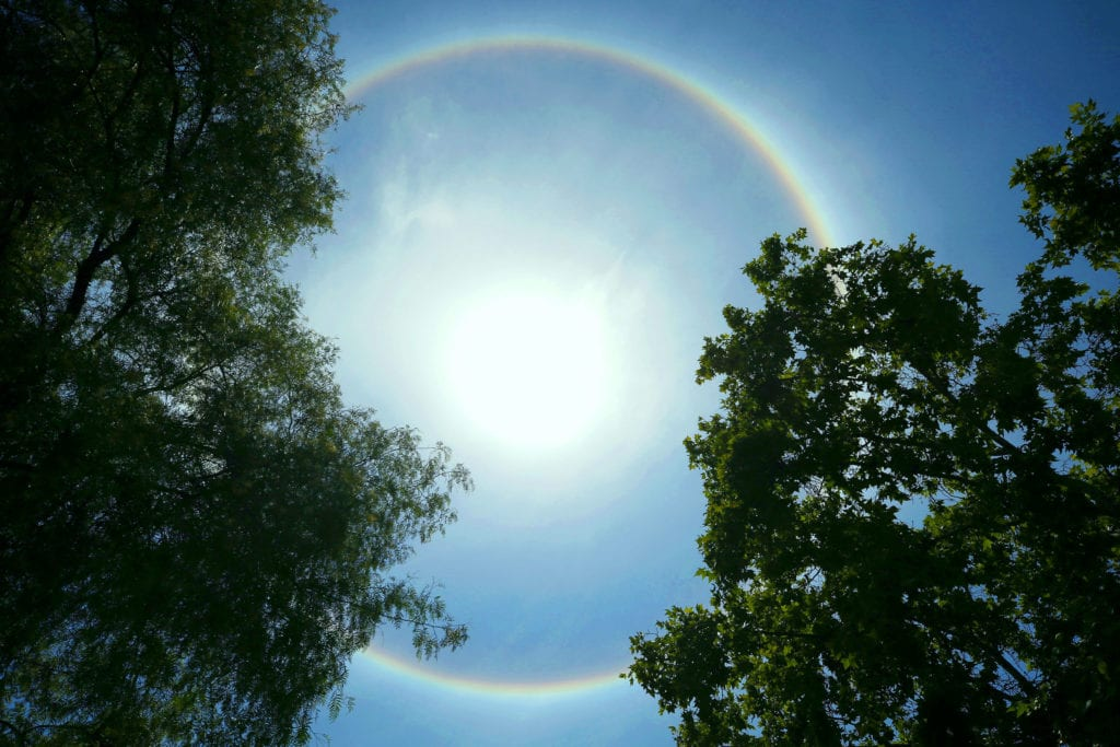 A circular rainbow is seen in Santiago, Chile on 18 December 2017. Photo: Mario Ruiz/CNS.