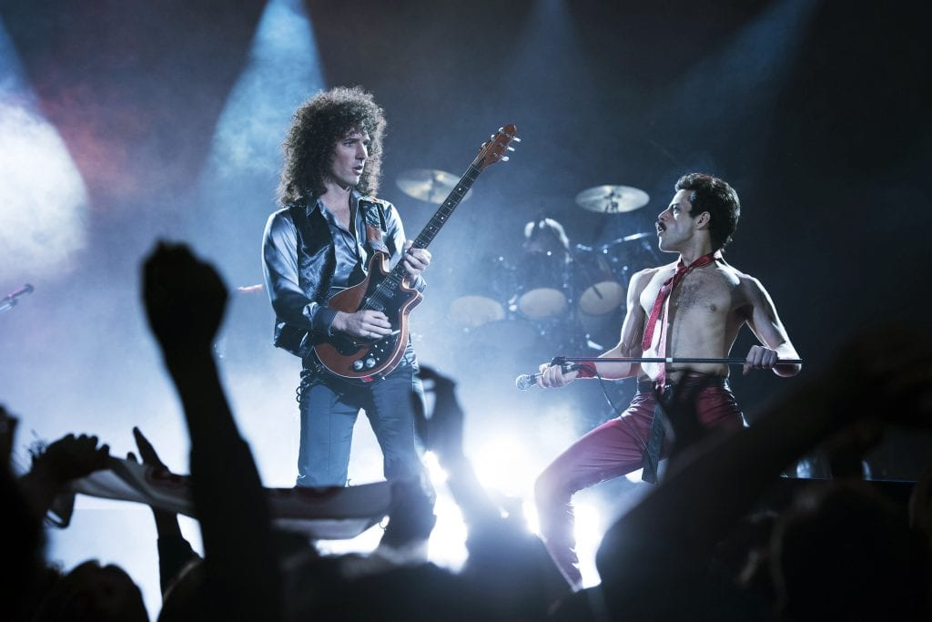 "Gwilym Lee and Rami Malek star in a scene from the movie ""Bohemian Rhapsody"". Photo: Fox/CNS."