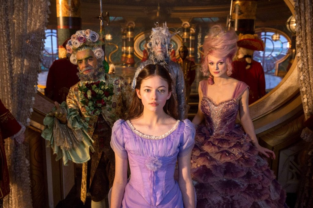"Mackenzie Foy, Keira Knightley, Eugenio Derbez and Richard E Grant star in a scene from the movie ""The Nutcracker and the Four Realms"". Photo: Disney/CNS."