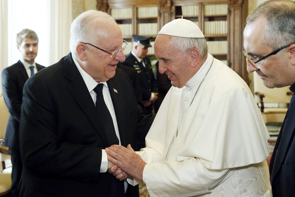 Pope Francis shakes hands with Israeli President Reuven Rivlin during a private audience at the Vatican on 15 November. Photo: Paul Haring/CNS.