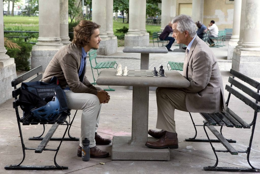 "Brenton Thwaites as Paul Asher and David Strathairn as 'The Man' in ""An Interview with God"". Photo: Astute Films."