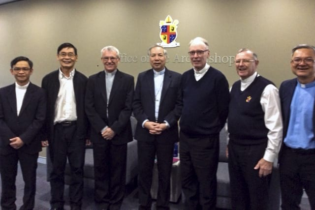 Earlier this month, Vietnamese Bishop Vi Nguyen, of the Diocese of Kontum, (fourth from left) and Fr Hong Dau (second from left), the Rector of the Seminary in Kontum, Vietnam, met with Archbishop Timothy Costelloe SDB, Auxiliary Bishop Don Sproxton and Vicar General Fr Peter Whitely VG. Cloverdale Parish Priest Fr Michael Quynh Do (first left) and Banksia Grove Parish Priest Fr Vinh Dong (far right) were also in attendance. Photo: Supplied.