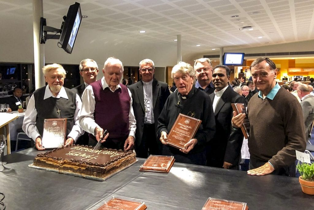 Several Perth priests and clergy came together on Wednesday 31 October at Trinity College for the annual clergy Mass and Dinner. Photo: Supplied.