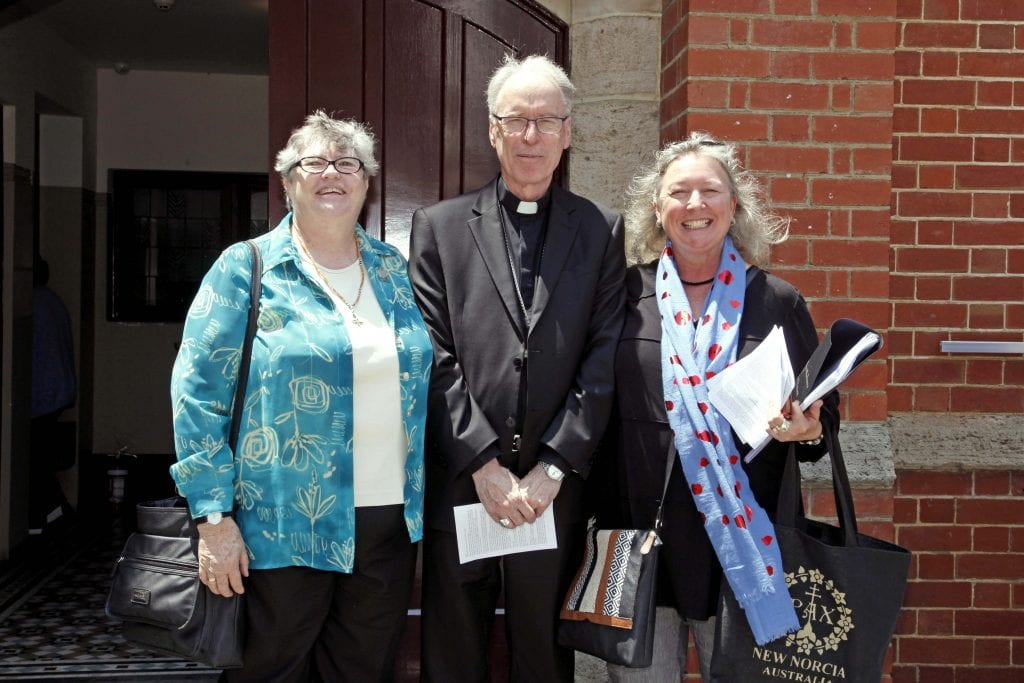 Auxiliary Bishop Donald Sproxton with Sr Margaret Scharf (left) and JEDO Director Carol Mitchell (right). Photo: Desire Mallet.