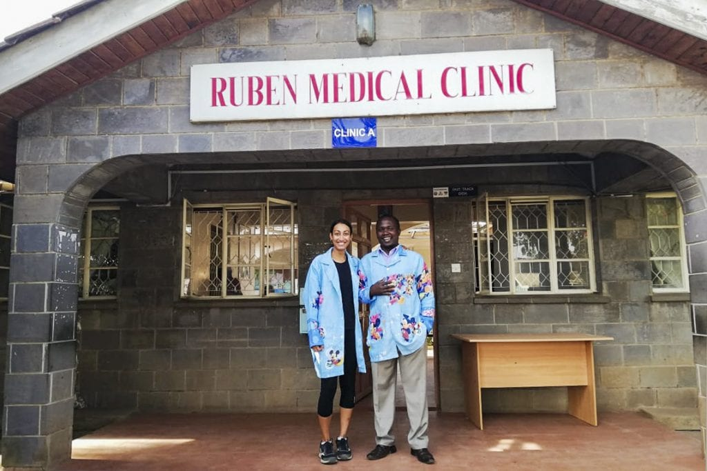 Laura Saldanha outside the Ruben Medical Clinic, a healthcare centre located in Kenya's capital city, Nairobi. Photo: Supplied.