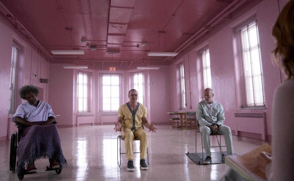 "Samuel L Jackson, James McAvoy, Bruce Willis, and Sarah Paulson star in an asylum scene from the 2019 movie ""Glass"". Photo: Universal Studios/CNS."