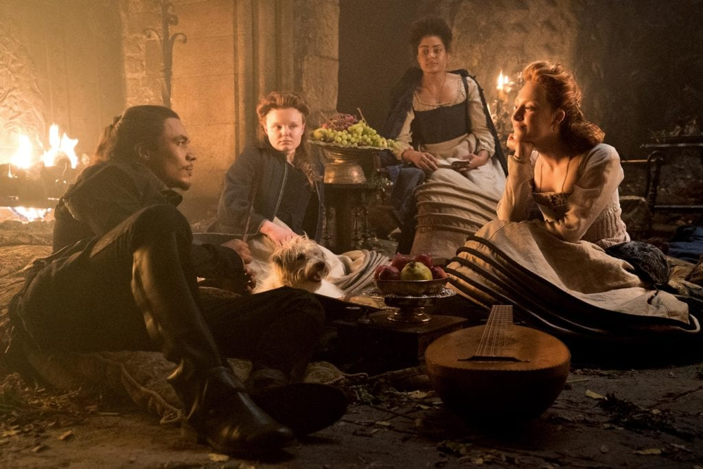 "Ismael Cruz Cordova, Maria Dragus, Izuka Hoyle, and Saoirse Ronan star in a scene from the movie ""Mary Queen of Scots"". Photo: Focus Features/CNS."