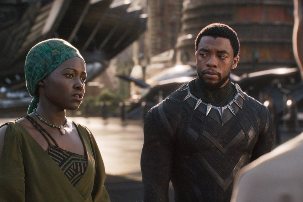 """Lupita Nyong'o and Chadwick Boseman star in a scene from the movie """"Black Panther"""". Photo: Walt Disney Pictures/CNS."""