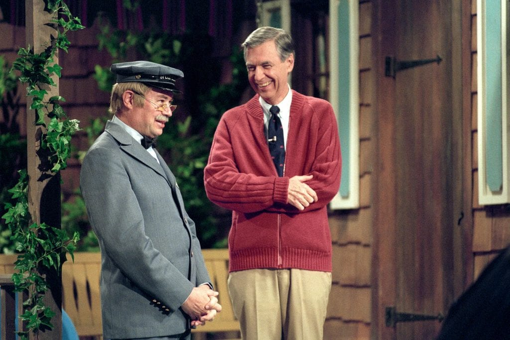 """Fred Rogers, the much-loved children's television figure, who died in 2003 (right) is pictured with David Newell, as Speedy Delivery's Mr McFeely, in the documentary """"Won't You Be My Neighbor?"""". Photo: Lynn Johnson/Focus Features."""