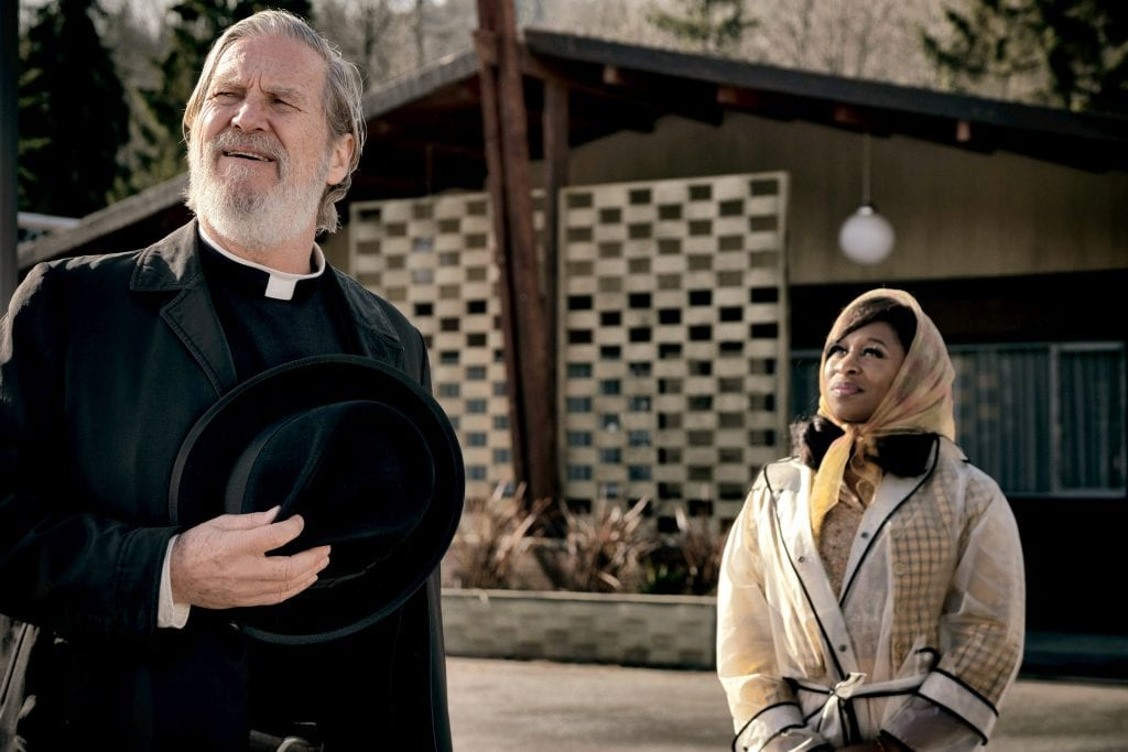 "Jeff Bridges and Cynthia Erivo star in a scene from the movie ""Bad Times at the El Royale"". Photo: Fox/CNS."