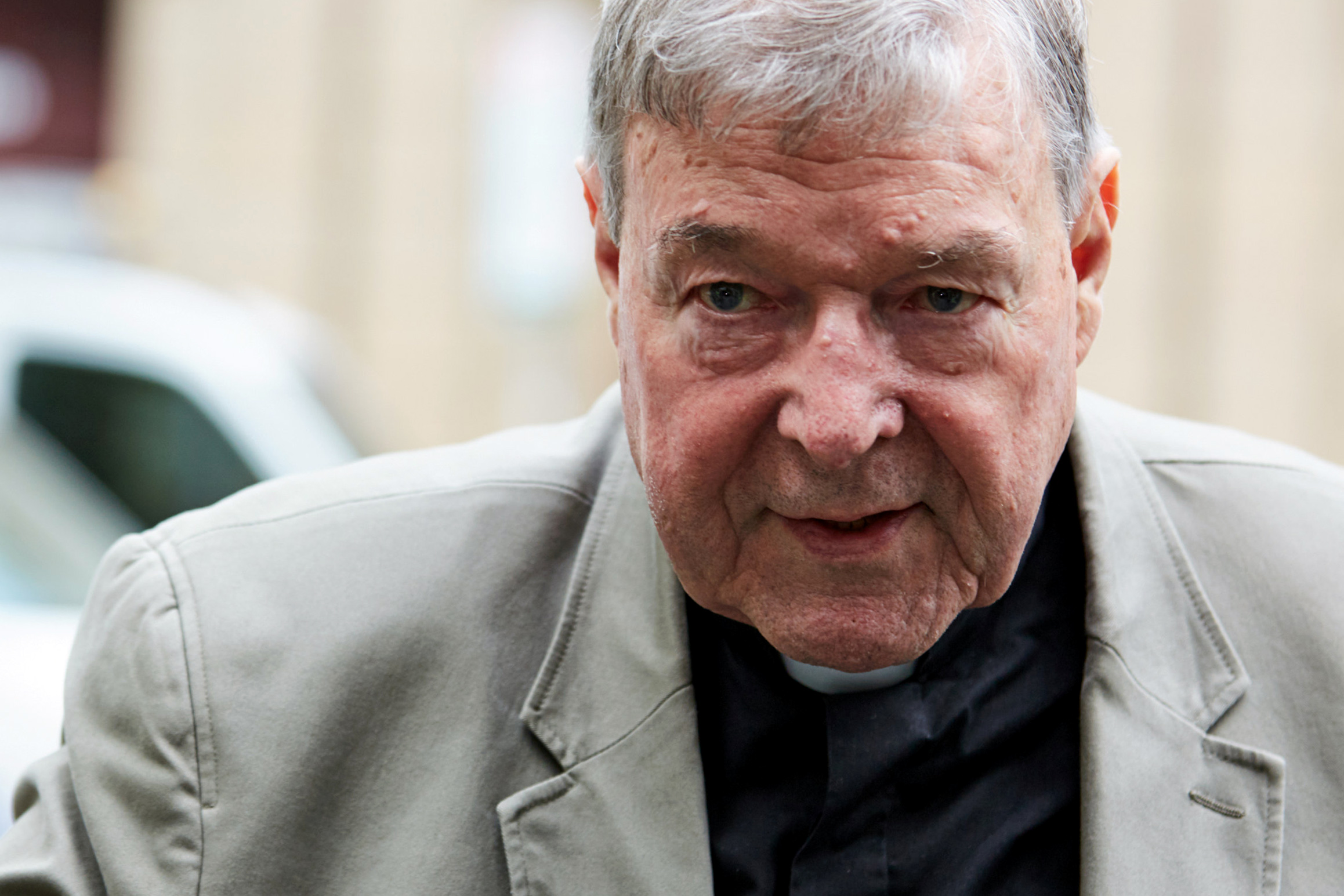 Australian Cardinal George Pell arrives at the County Court in Melbourne Feb. 26, 2019. An Australian court found Cardinal Pell guilty on five charges related to the sexual abuse of two 13-year-old boys; the verdict, reached in December, was announced Feb. 26. Sentencing is expected in early March, but the cardinal's lawyer already has announced plans to appeal the conviction. Photo: CNS/Erik Anderson