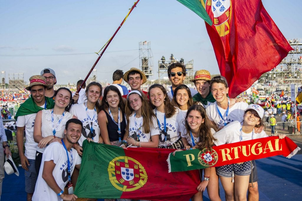 Pilgrims from Portugal, the next host of World Youth Day, to be held in Lisbon in 2022. Photo: Josh Low.