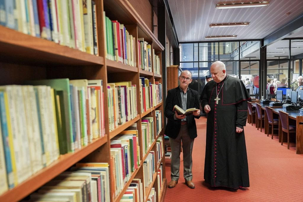 Rev Dr Russell Hardiman with Bunbury Bishop Gerard Holohan at the UNDA Fremantle campus Library. A Liturgical Collection dedicated to Dr Hardiman was unveiled at UNDA just two days before his passing. Photo: Supplied.