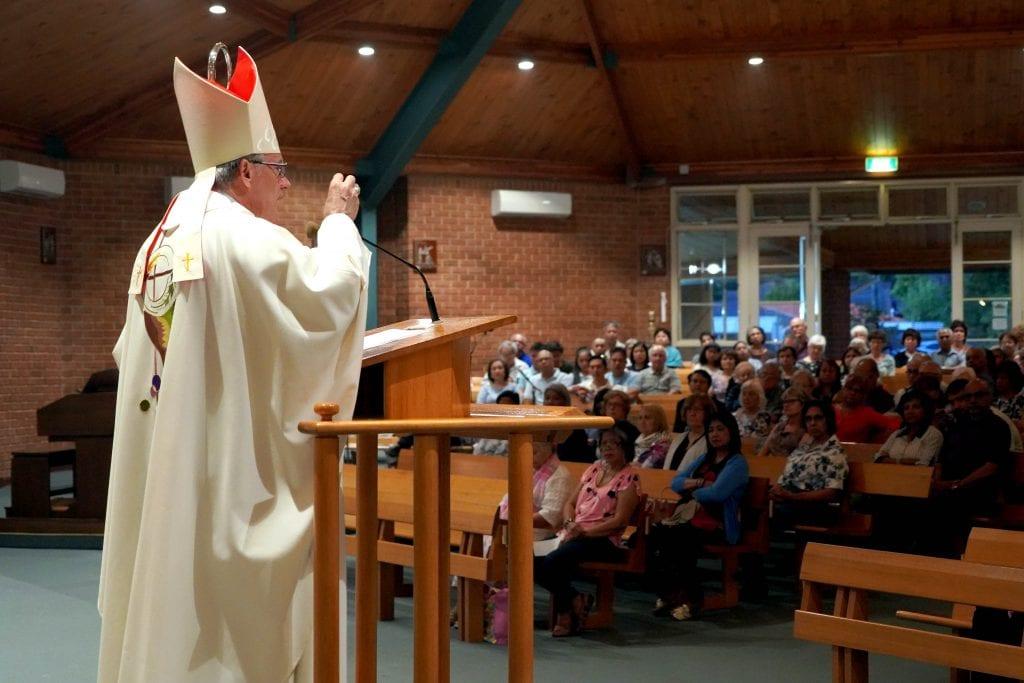 Archbishop of Perth Timothy Costelloe SDB preaches at Greenwood Parish on Monday 11 February. Photo: Matthew Lau.