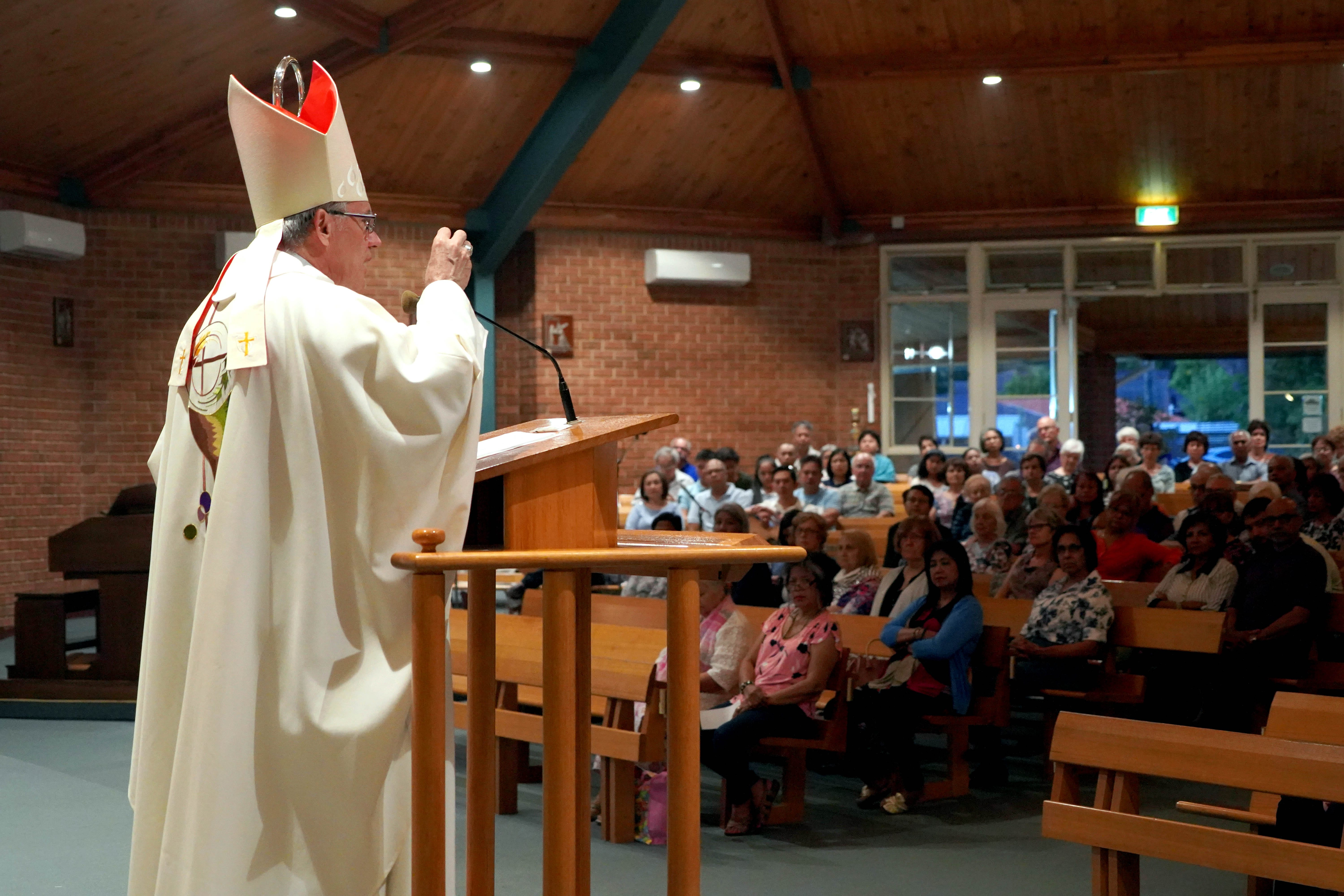 Archbishop of Perth Timothy Costelloe SDB preaches at Greenwood Parish on Monday 11 February. Photo: Matthew Lau.