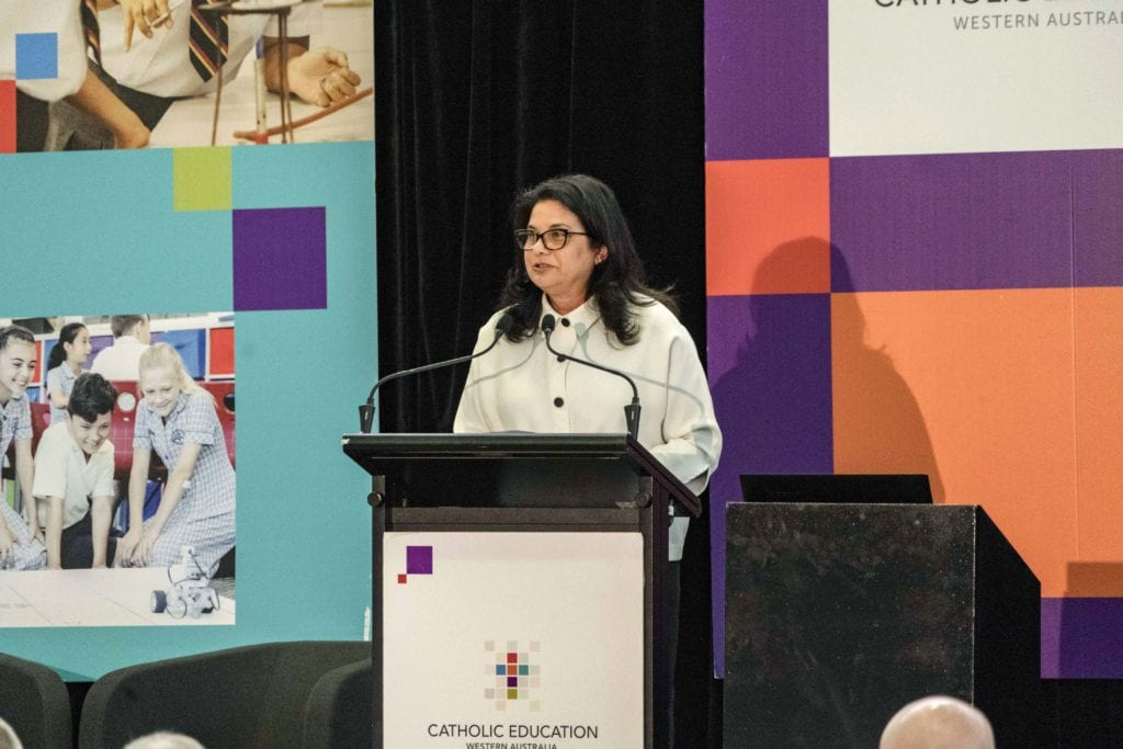 CEWA Executive Director Debra Sayce delivers her address at the annual Catholic Education Leaders Forum on 25 February in the main hall of Newman Siena Centre. Photo: Matthew Lau.