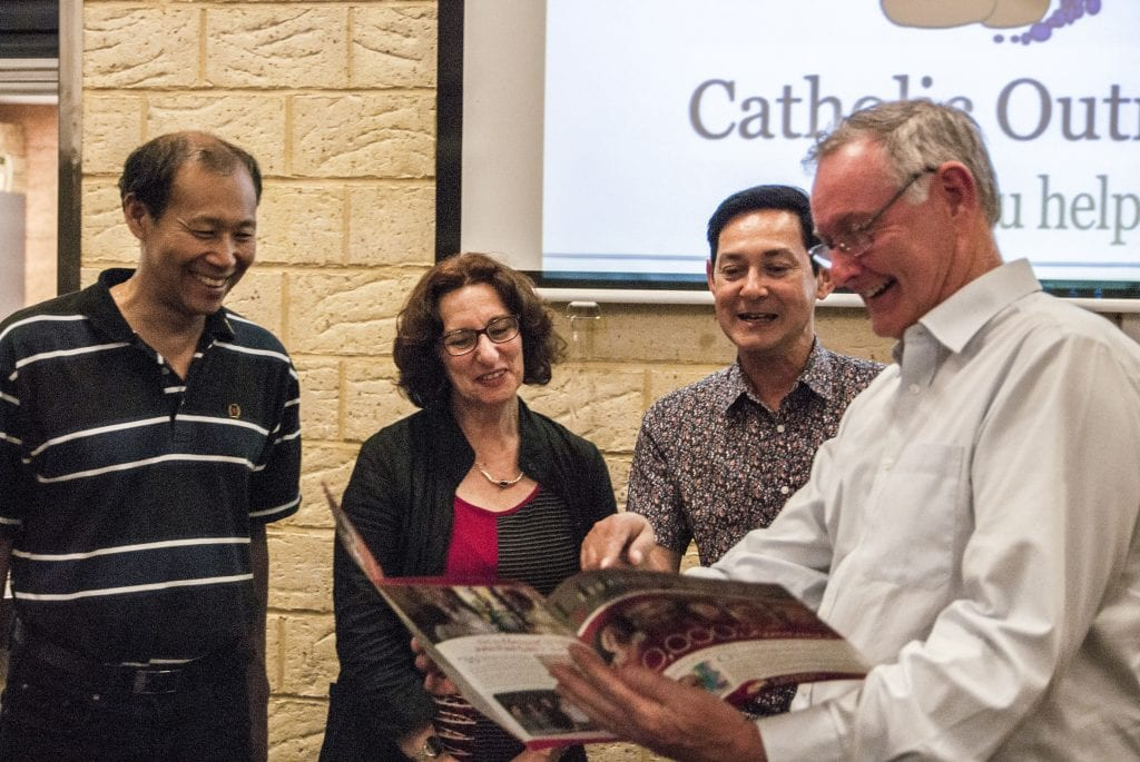 Peter McMinn (right) and co at Catholic Outreach's 2015 Christmas Appeal Promotion. Photo: The Record.