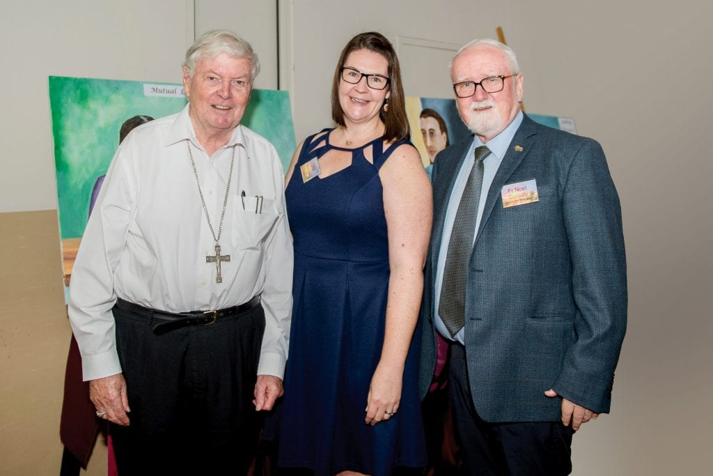 Plenary Council Facilitator Lana Turvey Collins, (centre) with Fr Noel Connelly (right) and Bishop Greg O'Kelly (left) from the Diocese of Port Pirie. Photo: Sourced.