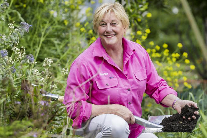 Gardener Sabrina Hahn has been working with MercyCare to give asylum seekers vital work experience. Photo: MercyCare.