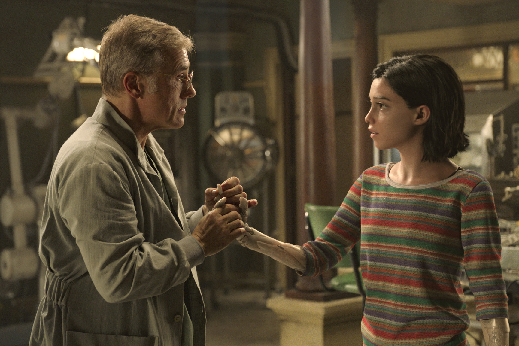 Christoph Waltz and Rosa Salazar star in a scene from the movie