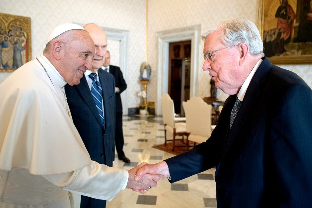 Pope Francis meets with M Russell Ballard, president of the Quorum of the Twelve Apostles of the Church of Jesus Christ of Latter-day Saints, on 9 March 2019. Ballard and other top officials of the church met the Pope at the Vatican the day before inaugurating Rome's new Mormon temple. Photo: Vatican Media/CNS.