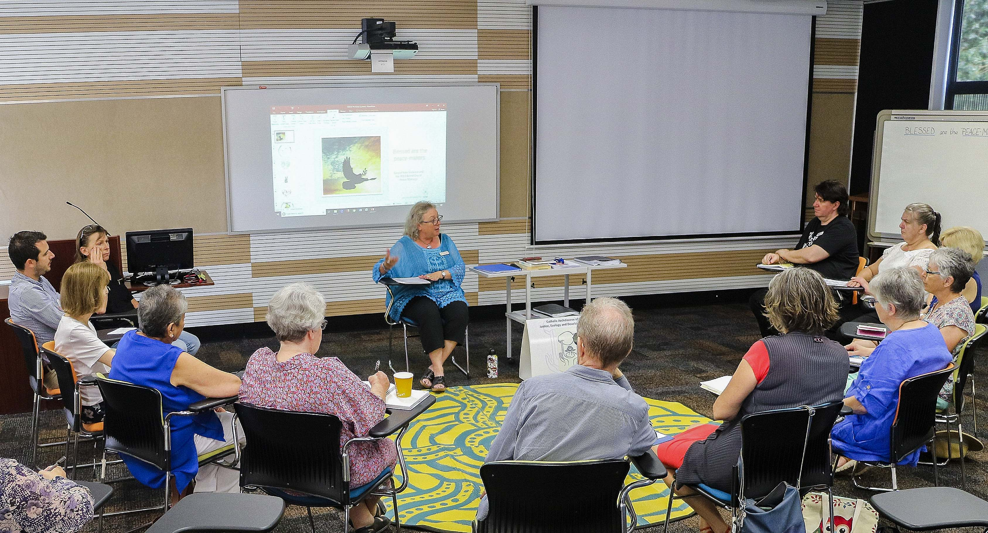Carol Mitchell delivered at the 2019 Gospel Non-Violence and the World Day of Peace Message workshop, held on Thursday 28 February at the Newman Siena Centre. Photo: Beryl Rahman from JEDO.
