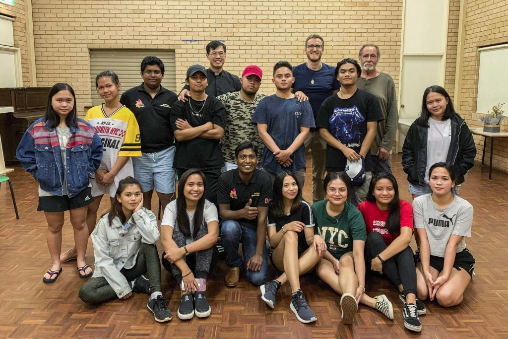 Fr Renald Anthony (bottom row, third from left) and the Goldfields Youth Ministry are raising funds to bring 100 local young people to Perth for the 2019 ACYF. Photo: Supplied.
