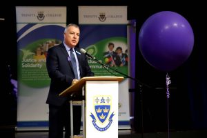 Trinity College Principal Darren O'Neill at the school's International Women's Day Breakfast on 7 March. Photo: Trinity College.