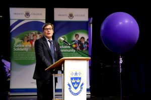 Chris Sutherland, Managing Director of Programmed, at Trinity College's inaugural International Women's Day Breakfast on 7 March. Photo: Trinity College.