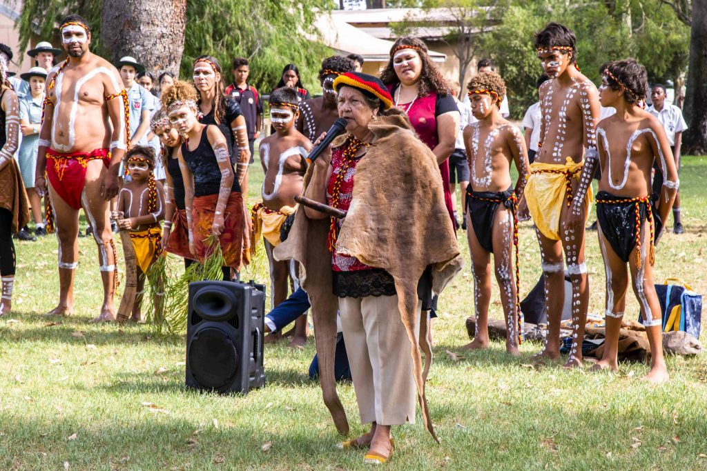 Aunty Marie Taylor conducts the Welcome to Country on the schools launch of Project Compassion for 2019 at Clontarf Aboriginal College on Tuesday 5 March. Photo: Jamie O'Brien.