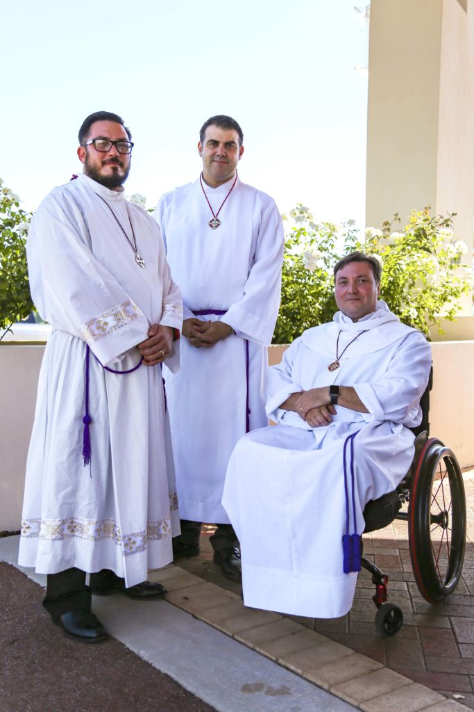 From left, Guild of St Stephen members from St Helena of the Holy Cross, Ellenbrook Parish, Michael Harper, Ben Bull, Angelo Papiccio. Photo: Eric Martin.