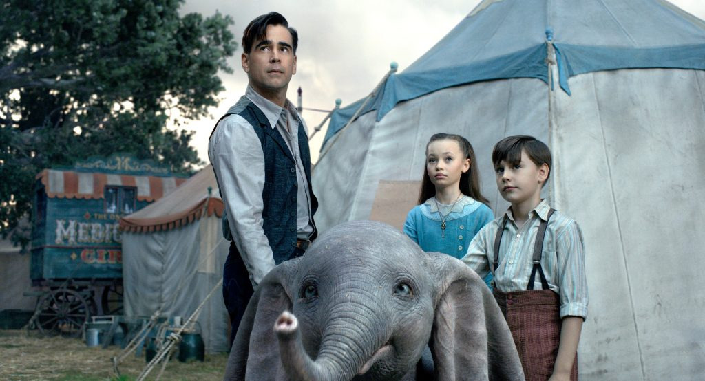 "Colin Farrell, Nico Parker and Finley Hobbins star in a scene from the movie ""Dumbo"". Photo: Disney/CNS."