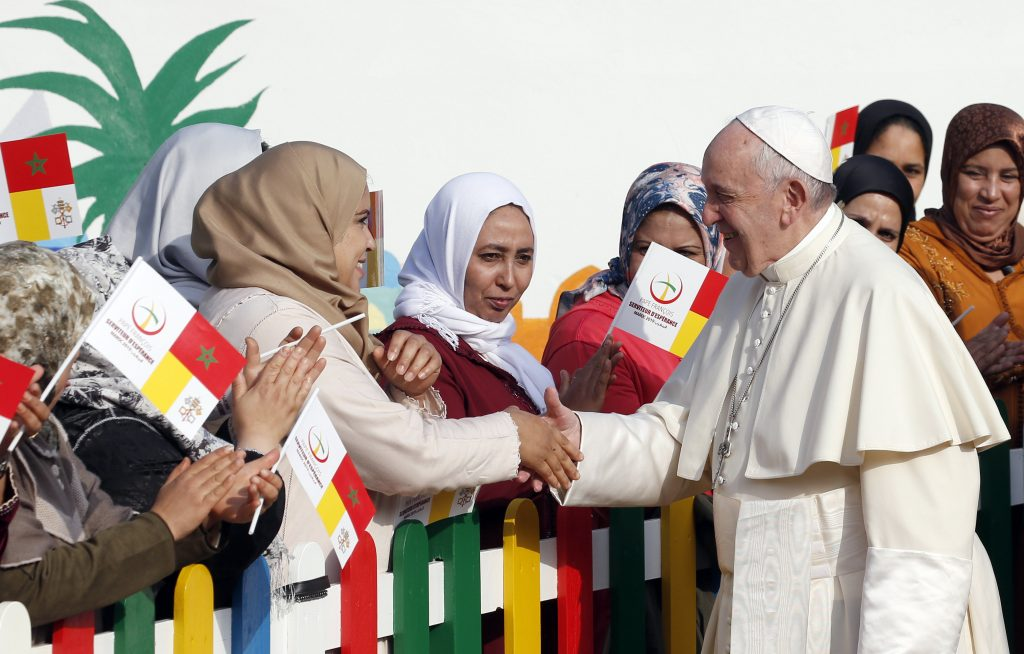 Pope Francis said that dialogue is not a 'fashion' or 'strategy,' but a way of imitating Jesus, who, moved by love, sought out everyone and began a dialogue with them during his visit to Rabat, Morocco on 31 March. Photo: Paul Haring/CNS.