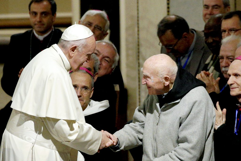 Pope Francis met with Catholic priests and religious and leaders of other Christian churches in St. Peter's Cathedral in Rabat on 31 March. Photo: Paul Haring/CNS.